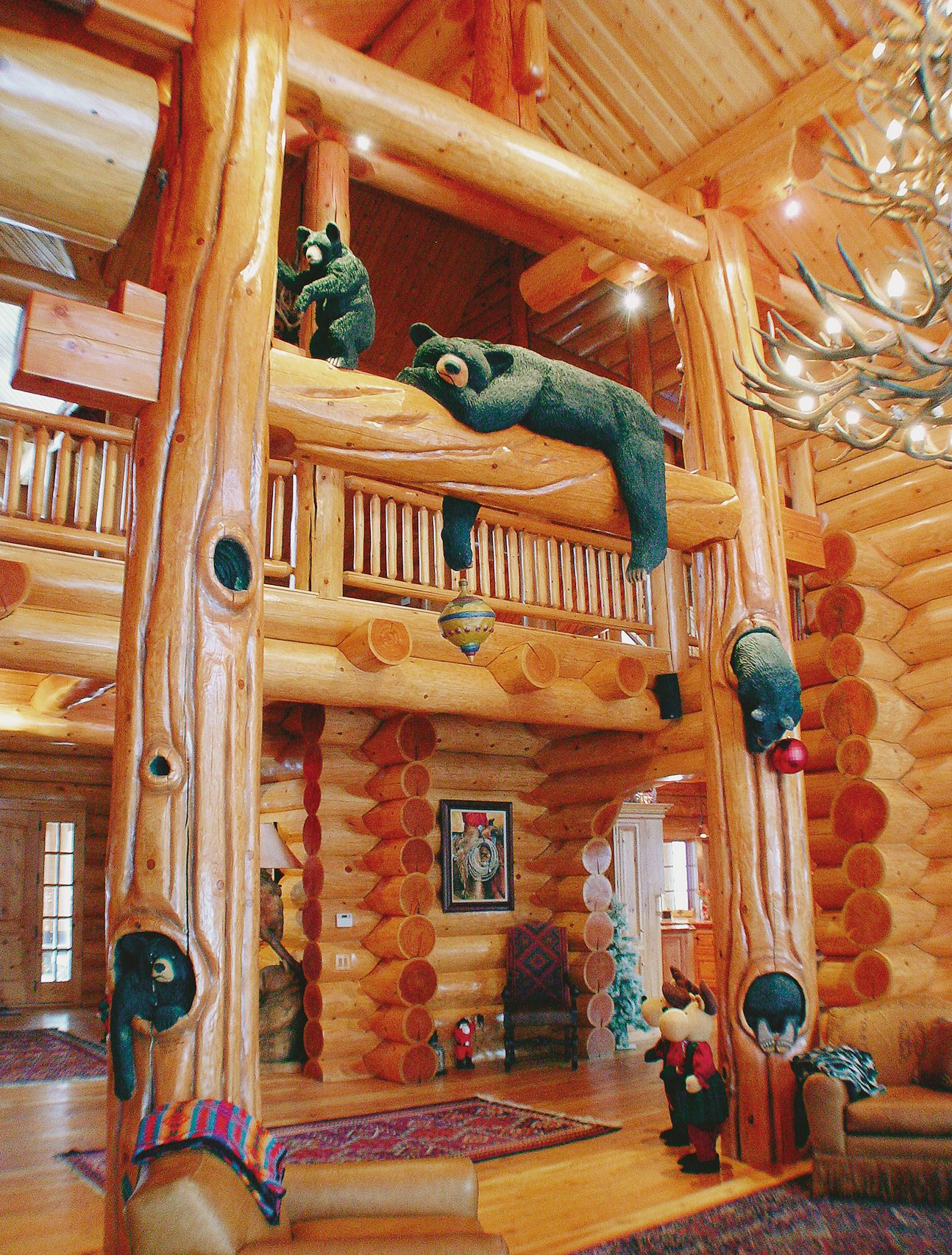 Log home photo gallery north american log crafters for Bear home decorations