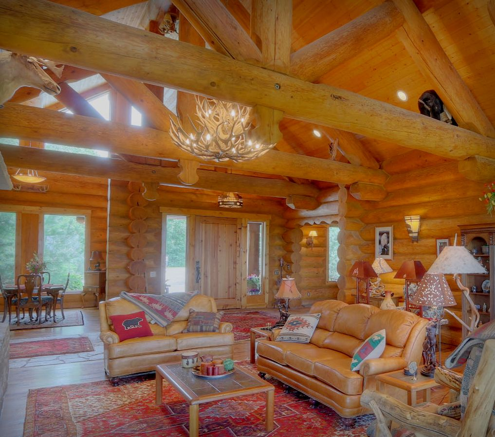 Log Cabin Living Rooms and Great Rooms - North American Log Crafters