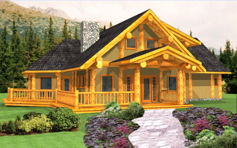North american log crafters log home builder plans for Open beam house plans
