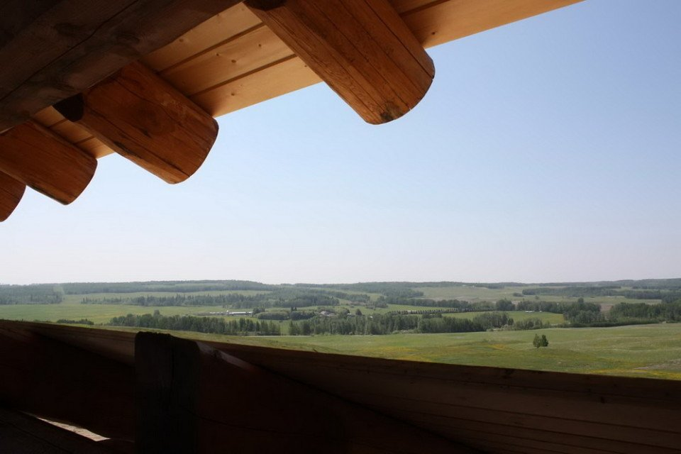 Prairie View From Log Barn