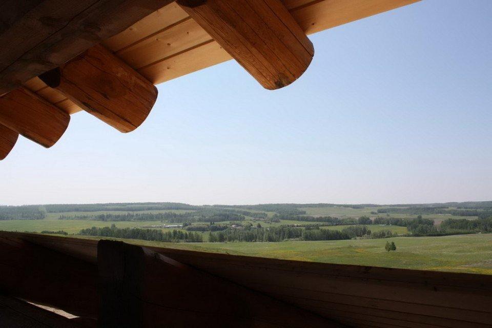 Prairie View From Log Barn