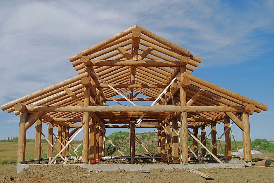 Image gallery log barn building plans for Log pole barn
