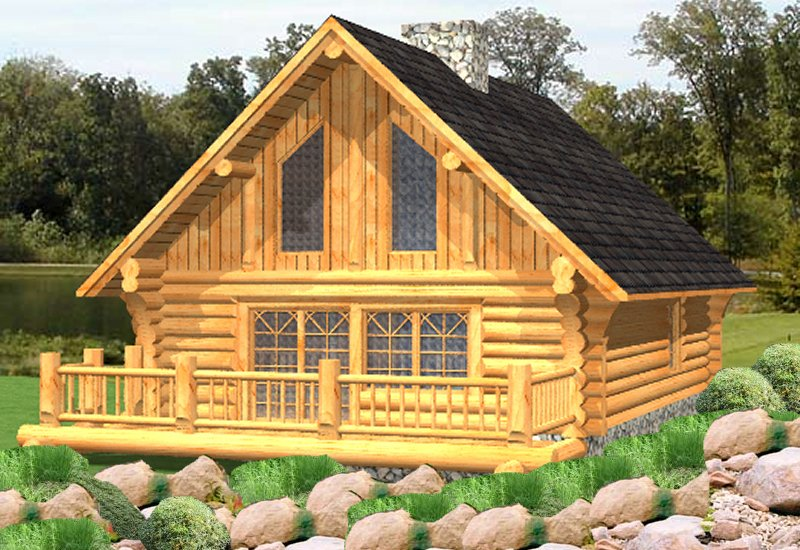 Russell log cabin plans log home plans bc canada for Cottage plans with loft canada