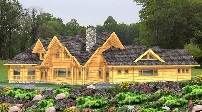 Log post and beam package kettlewell log home plans for Open concept post and beam house plans