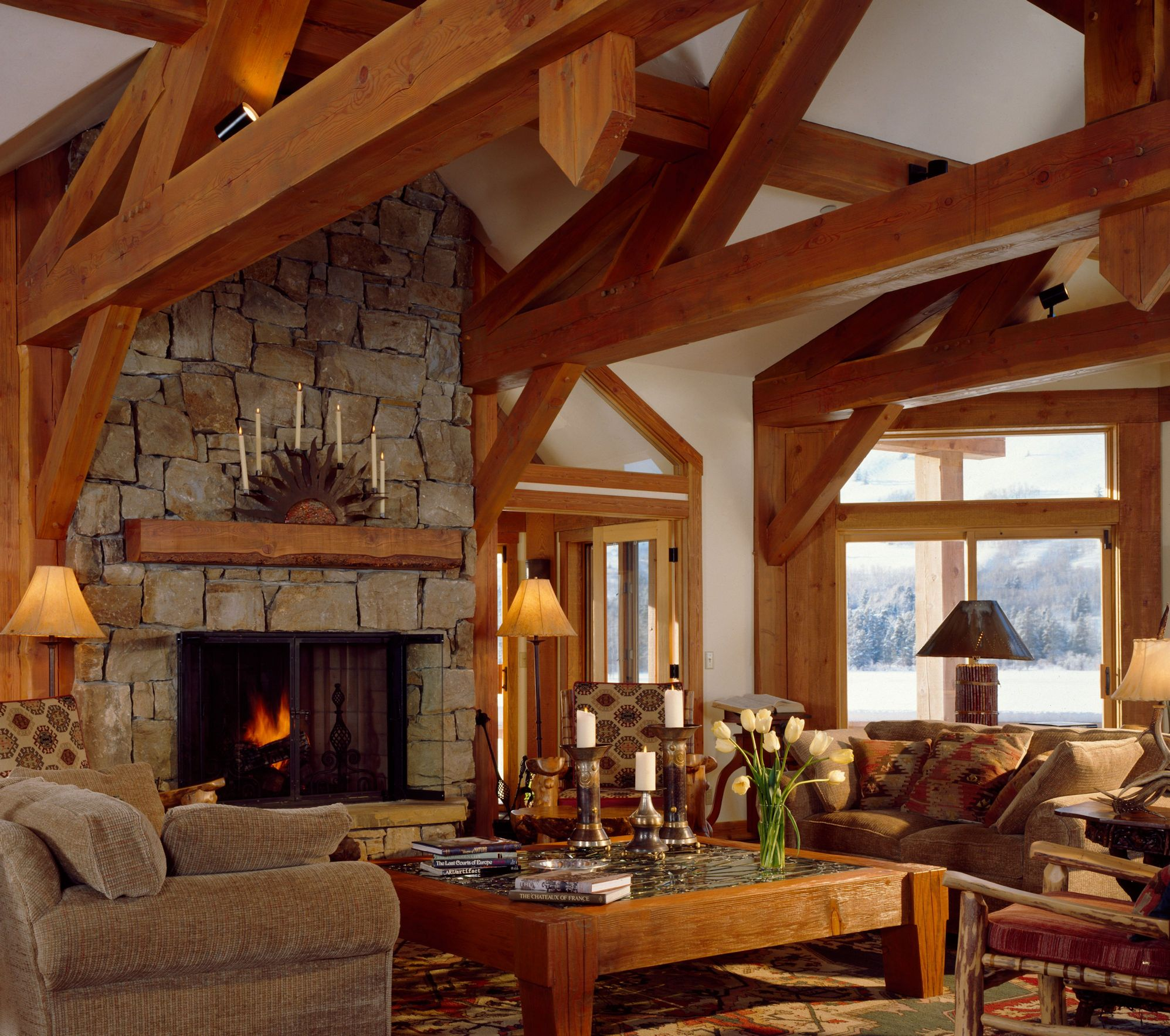 Timber frame styles traditional log styles for Timber frame home interiors