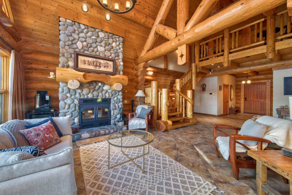 Log Cabin Home with fireplace