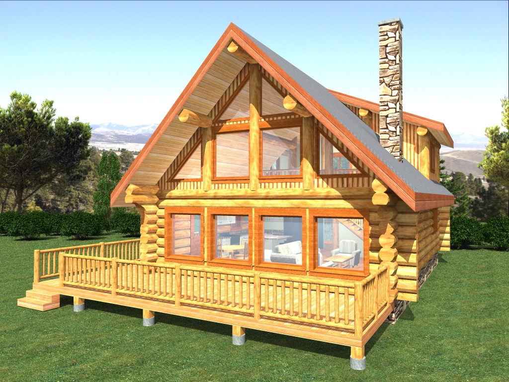 Log home package copper island plans designs for Home house plans
