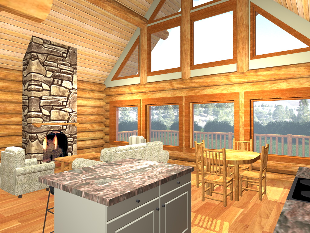 Copper Island Log Home Interior