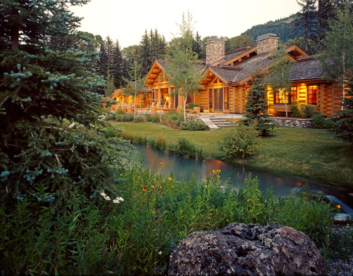 Log Home at River