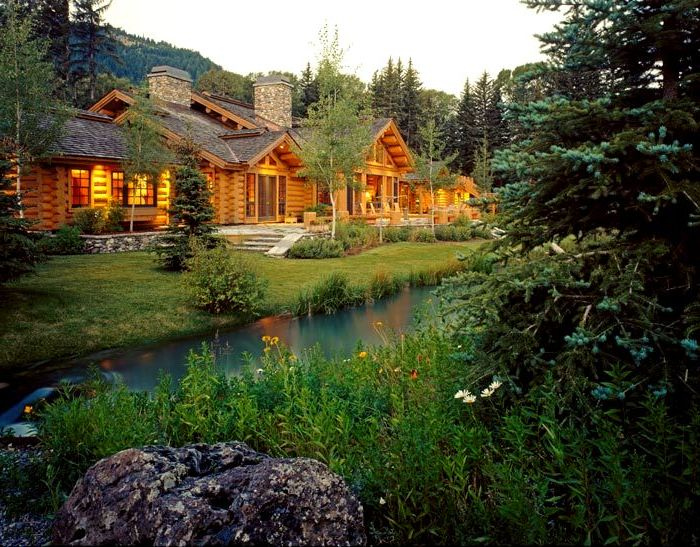 Log Home at River Flipped
