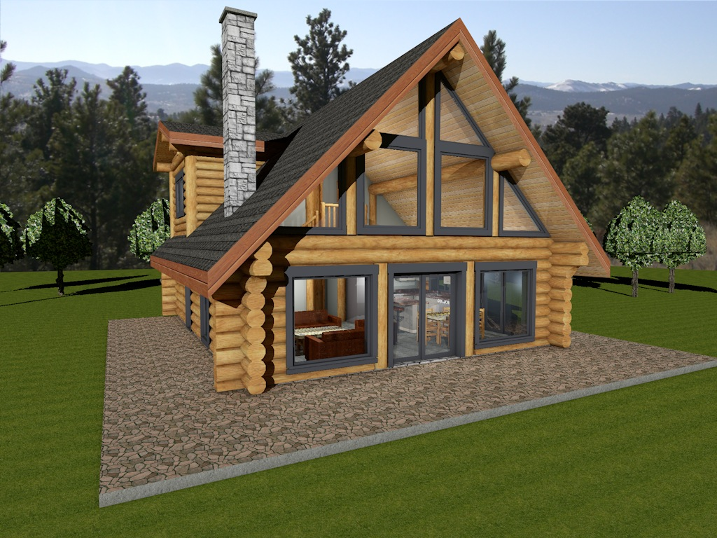 Log home floor plans bc for Log shed design