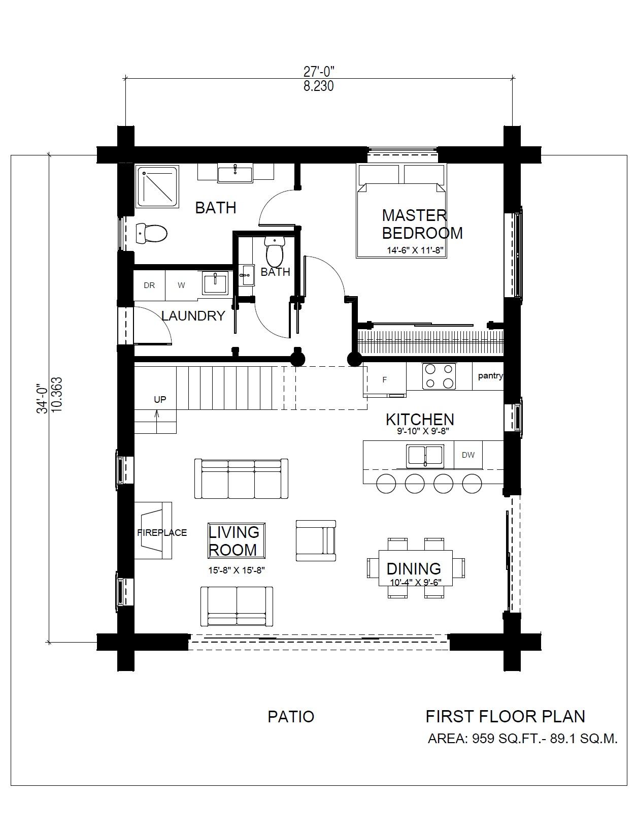 Horseshoe bay Log Cabin Variation Main Floor