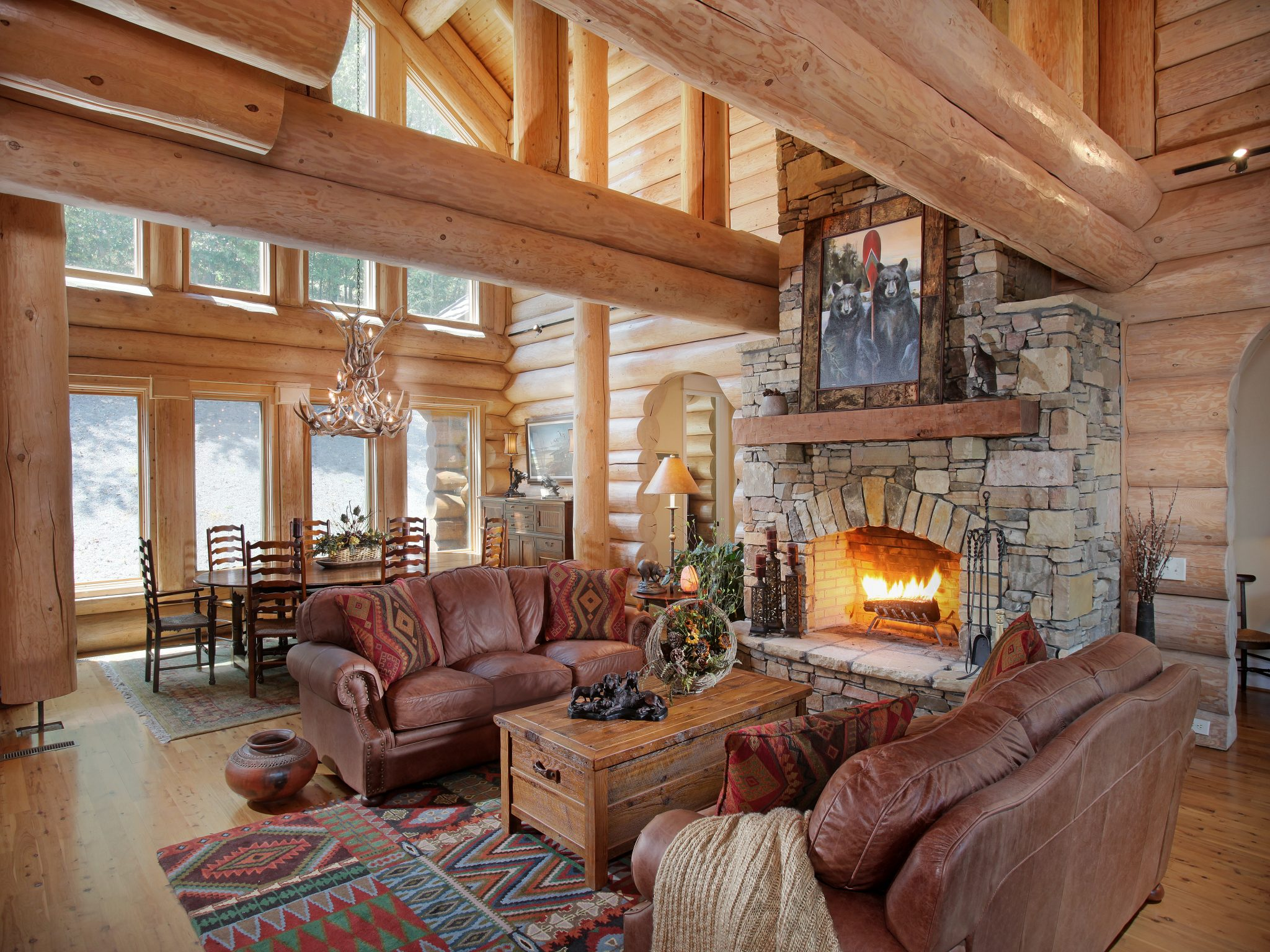 Log Cabin Living Rooms and Great Rooms - North American ...