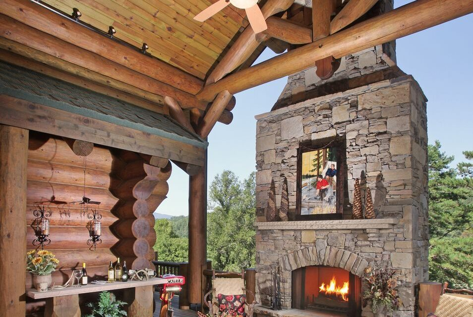 Log Outdoor Fireplace