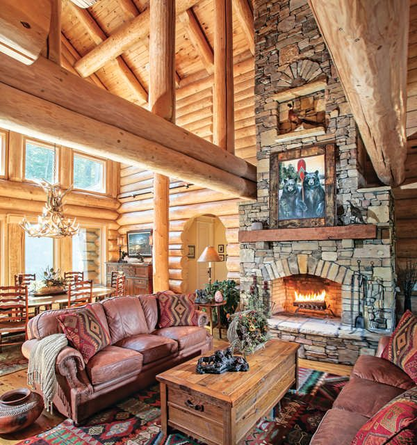Luxury Log Living Room