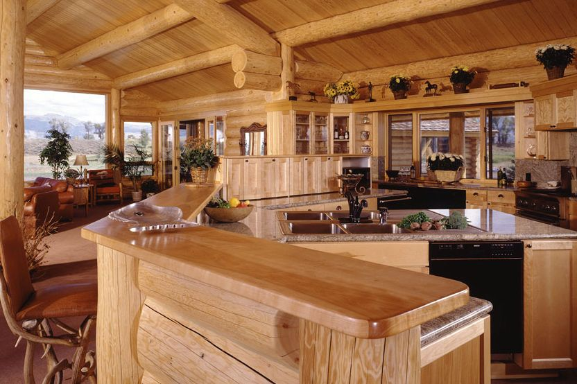 Log Home Kitchens - North American Log Crafters