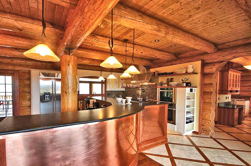 While Styles Change Over The Years A Log Home Kitchen Remains Heart Of